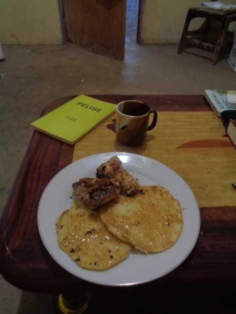 maize meal pancakes and chicken