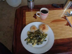 homemade skillet rolls, eggs, swiss chard