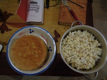 Dinner: bread and popcorn