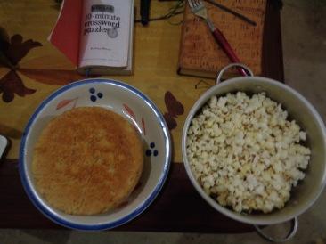 Dinner: bread and popcorn